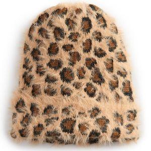 SO fuzzy animal print winter hat for women